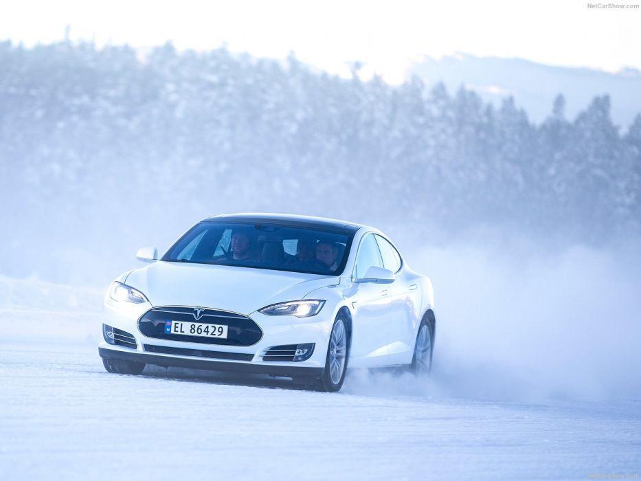 2013 Tesla Model-S P85 cars white electric wallpaper