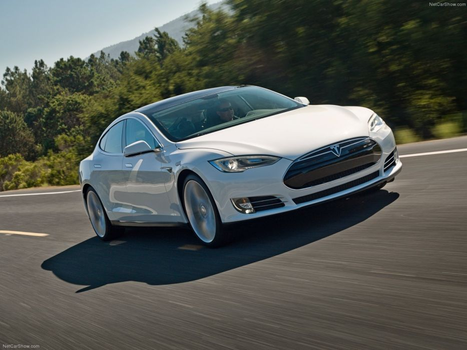 2013 Tesla Model-S P85 cars white electric wallpaper