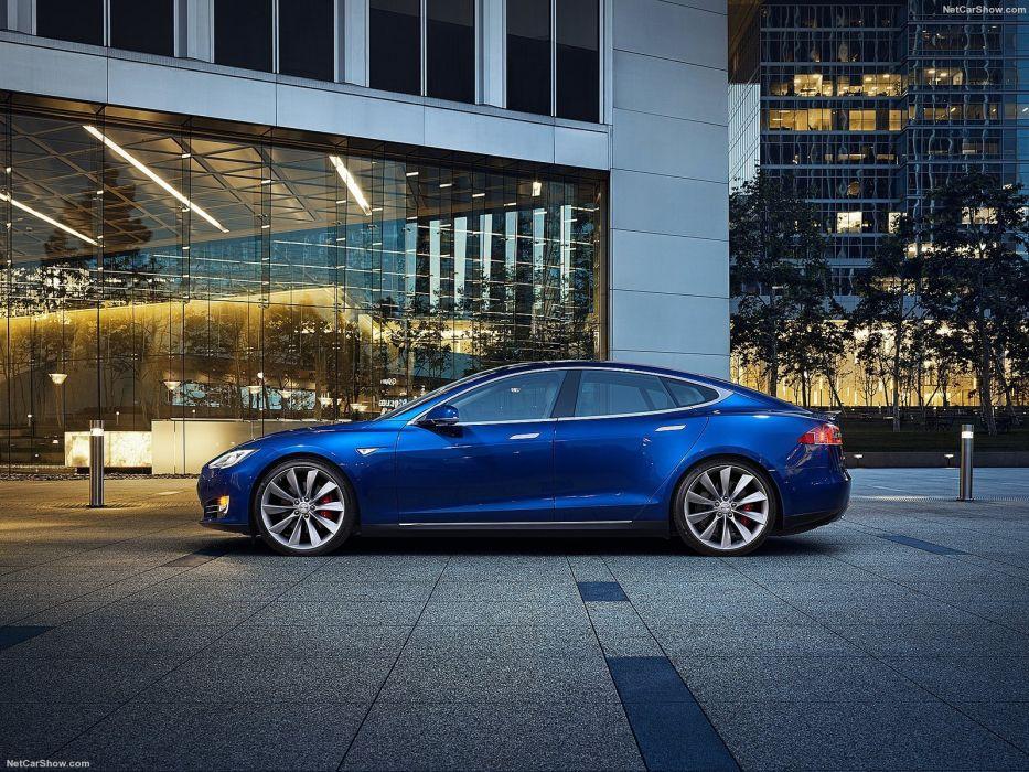 2013 Tesla Model-S P85 cars blue electric wallpaper