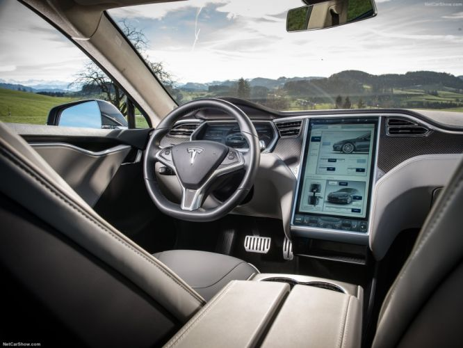 2013 Tesla Model-S P85 cars blue electric interior wallpaper