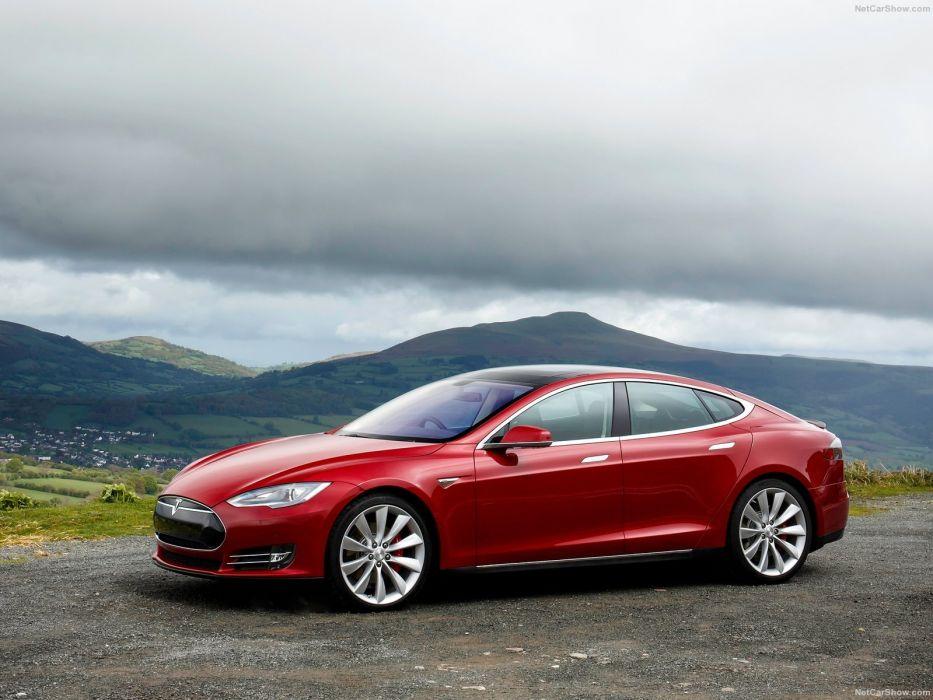 2013 Tesla Model-S P85 cars red electric UK-version wallpaper