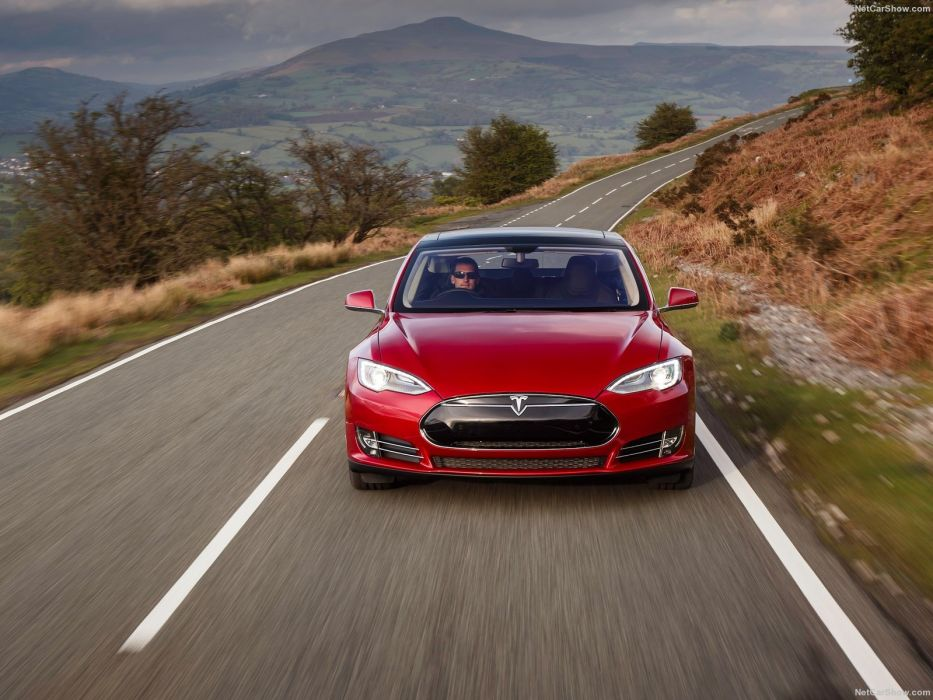 2013 Tesla Model-S P85 cars red electric UK-version wallpaper