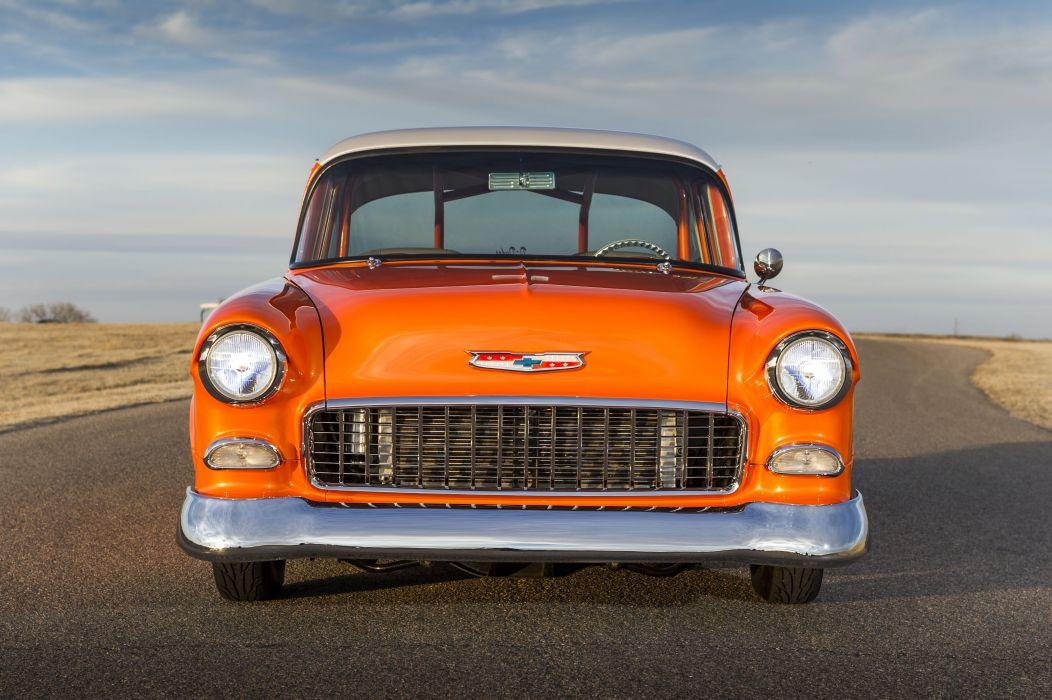 1955 Chevrolet 150 Pro Streeter cars classic orange wallpaper