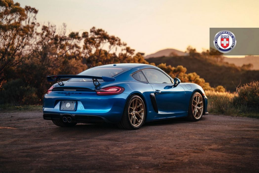 porsche Cayman GT4 blue HRE wheels cars wallpaper