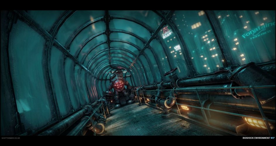 BIOSHOCK fantasy sci-fi shooter action cyborg fighting robot warrior futuristic wallpaper