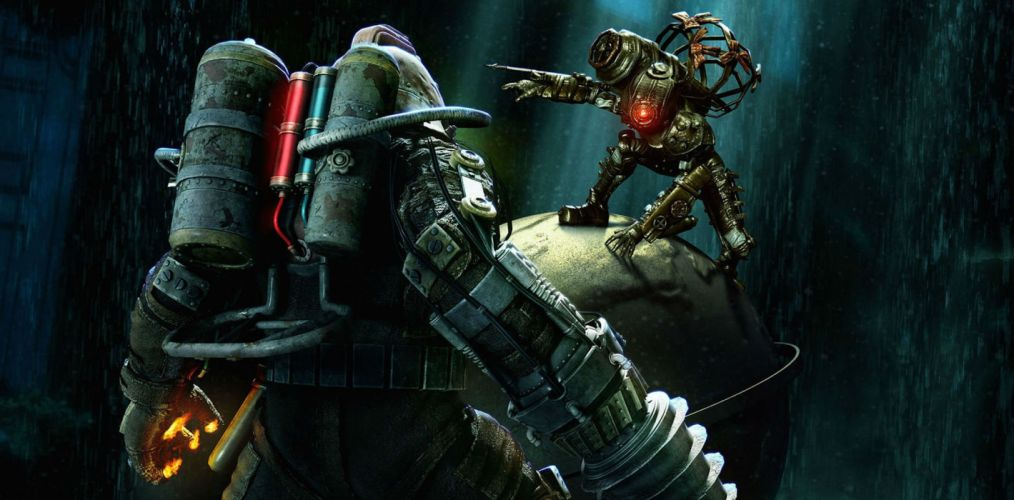 BIOSHOCK fantasy sci-fi shooter action cyborg fighting robot warrior futuristic wallpaper