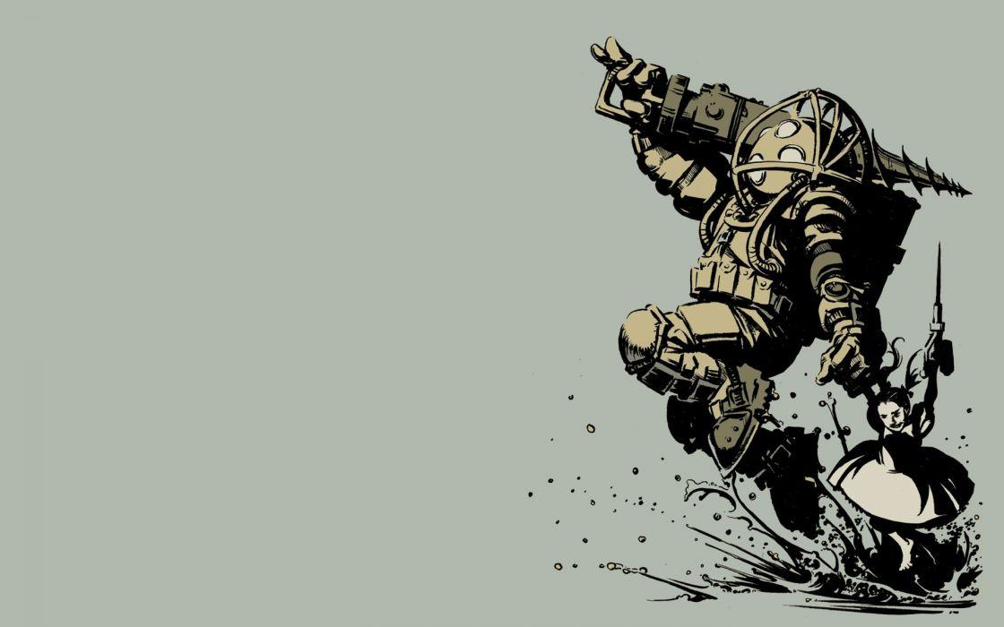 BIOSHOCK fantasy sci-fi shooter action cyborg fighting robot warrior futuristic multi monitor dual screen widescreen wide screen wallpaper