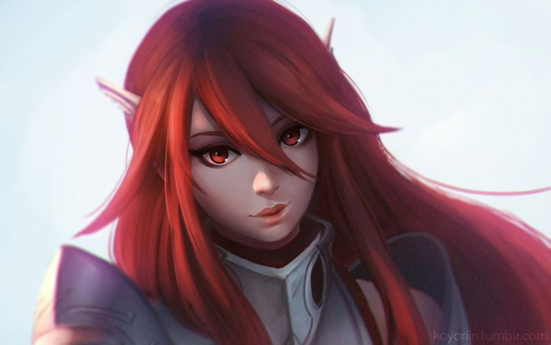 Fire Emblem Awakening game series character girl red hair eyes beautiful wallpaper