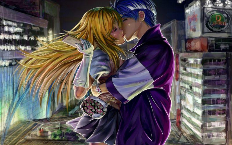 toaru kagaku no railgun shokuhou misaki anime couple kissing wallpaper