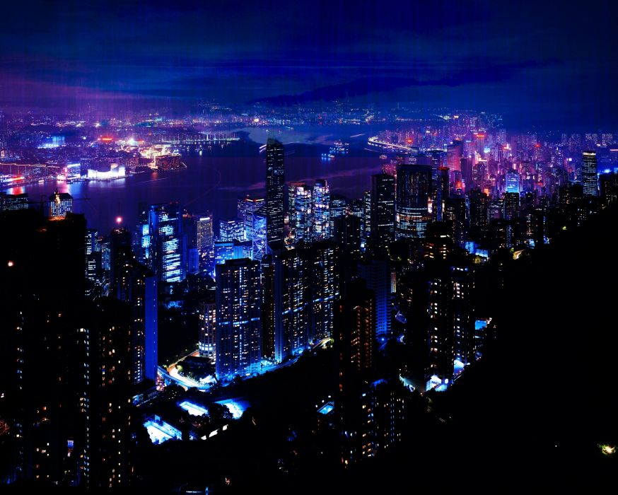 night city sky skyscrapers wallpaper