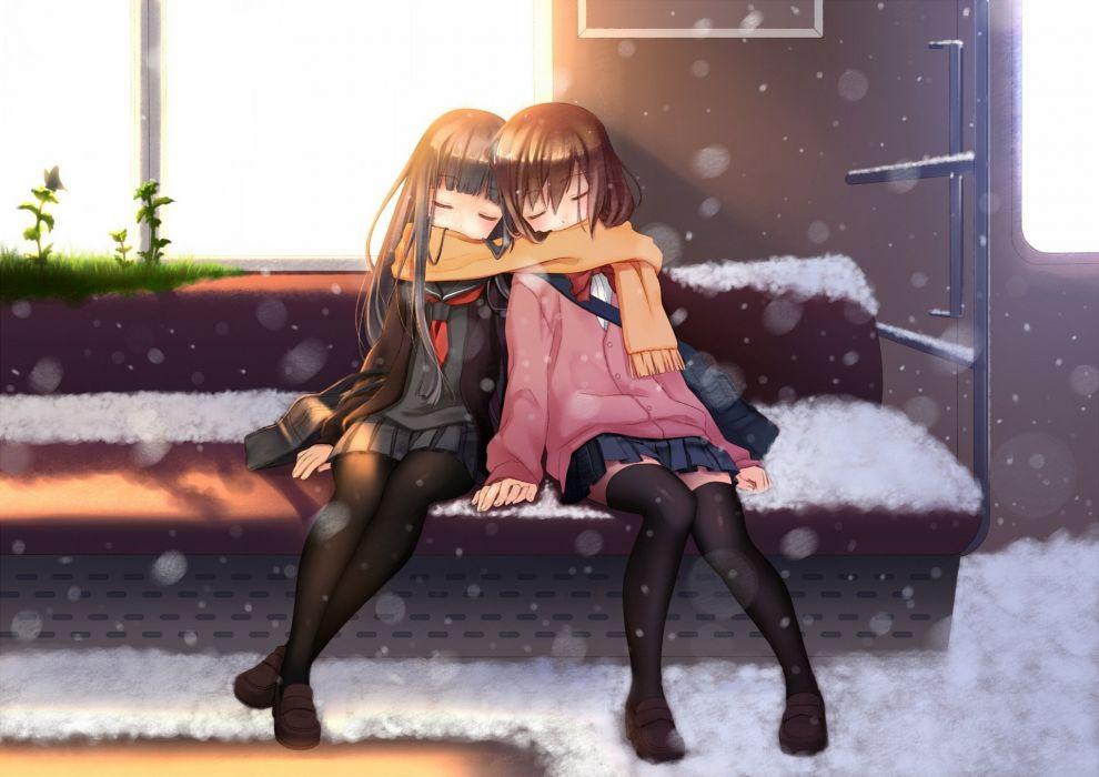 nana mikoto girl anime winter scarf bench wallpaper