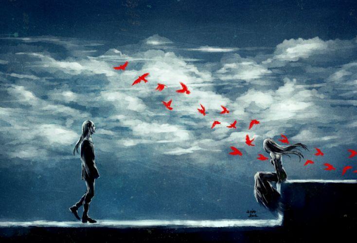 original clouds anime girl boy art birds wallpaper