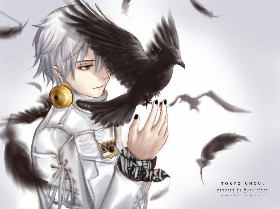 tokyo anime series ghoul kaneki ken crow man wallpaper