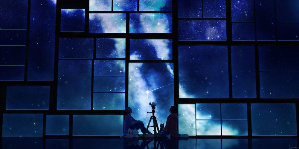 tamagosho anime blue sky stars telescope night window wallpaper
