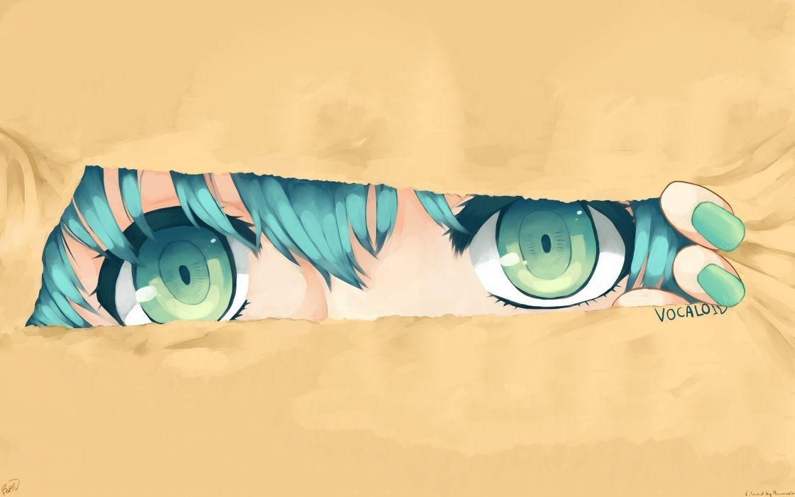 hatsune anime series miku vocaloid girl eyes blue wallpaper