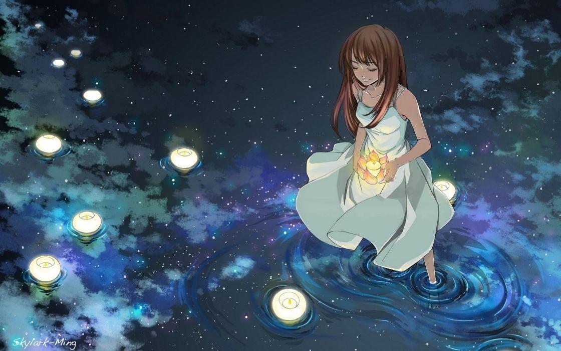 girl lights water anime stars wallpaper