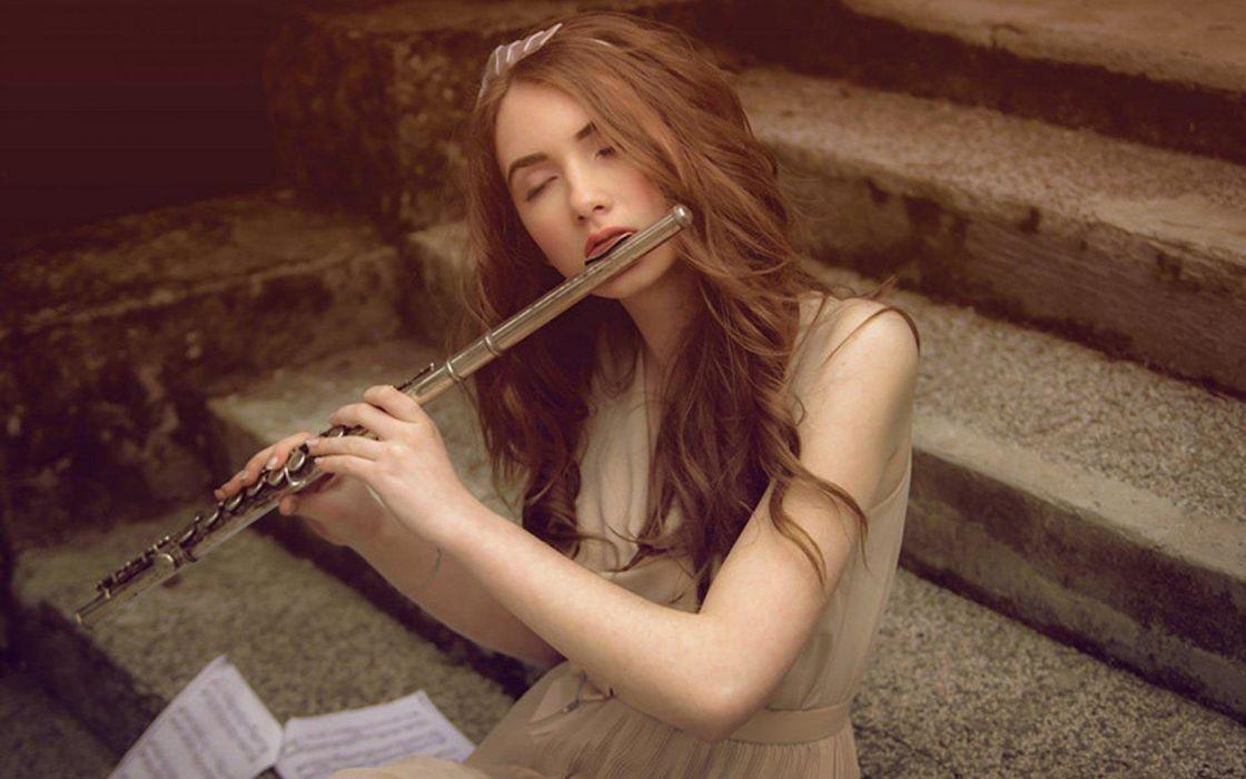 flute girl beauty long hair woman female music wallpaper