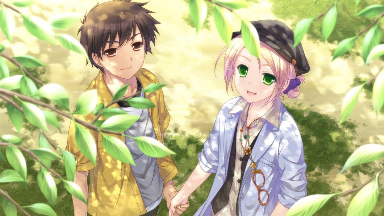 anime couple saeki hokuto sora no mukou de sakimasu you ni tsukasa mahori girl walking summer wallpaper