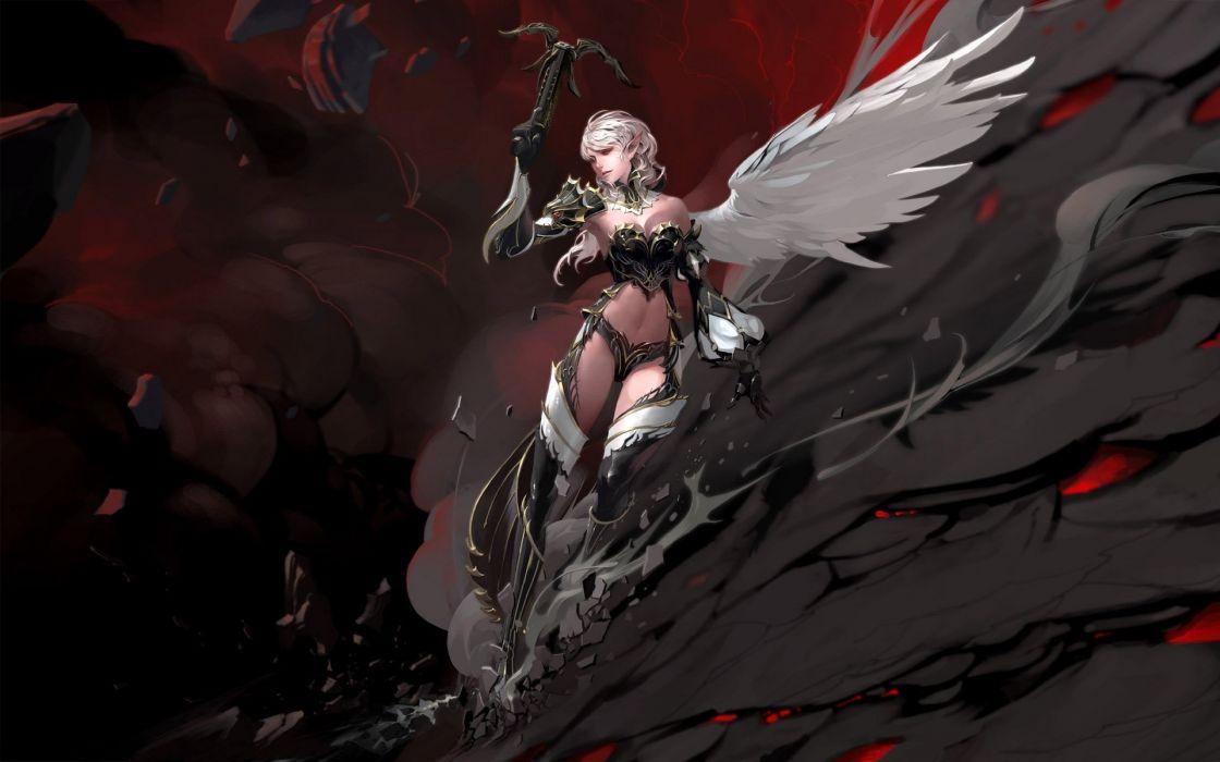 fantasy girl angel wing falling wallpaper