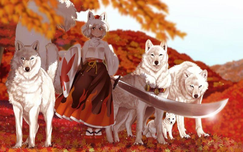 anime girl kimono sword wolf autumn wallpaper