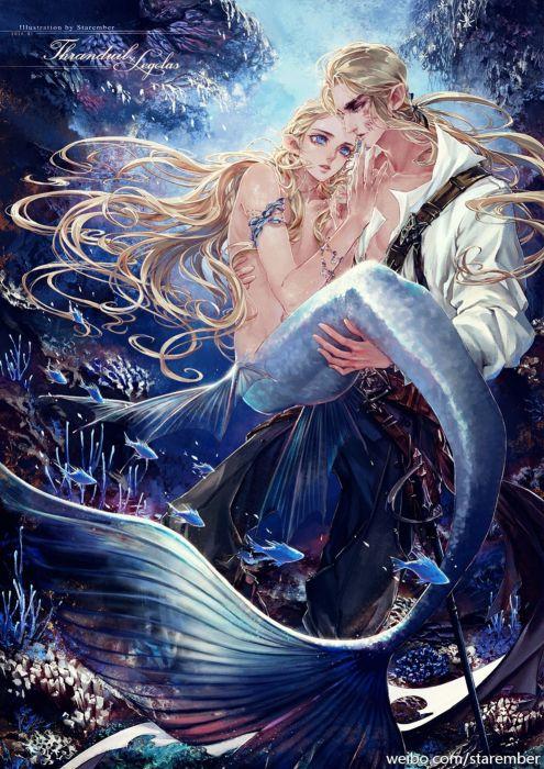 mermaid fantasy beauty male blue blue eyes fish wallpaper