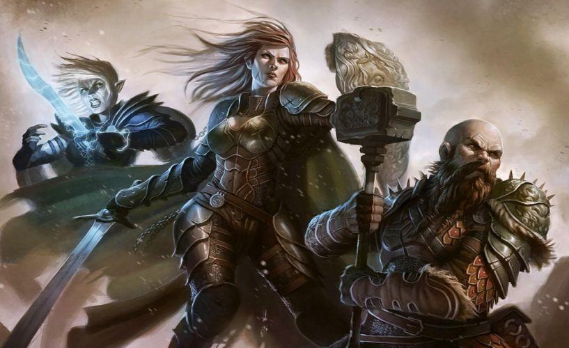 humans elves warriors hammerhead weapon attack wallpaper