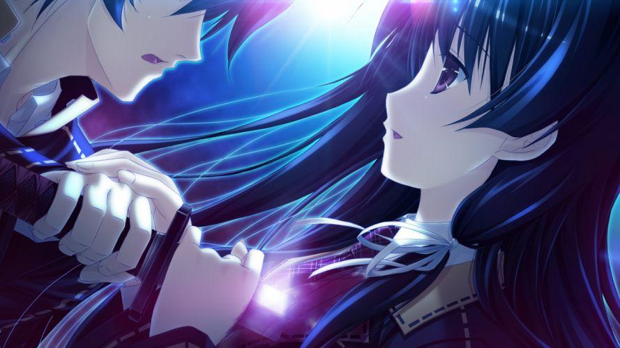 boy girl knife attack light anime couple wallpaper