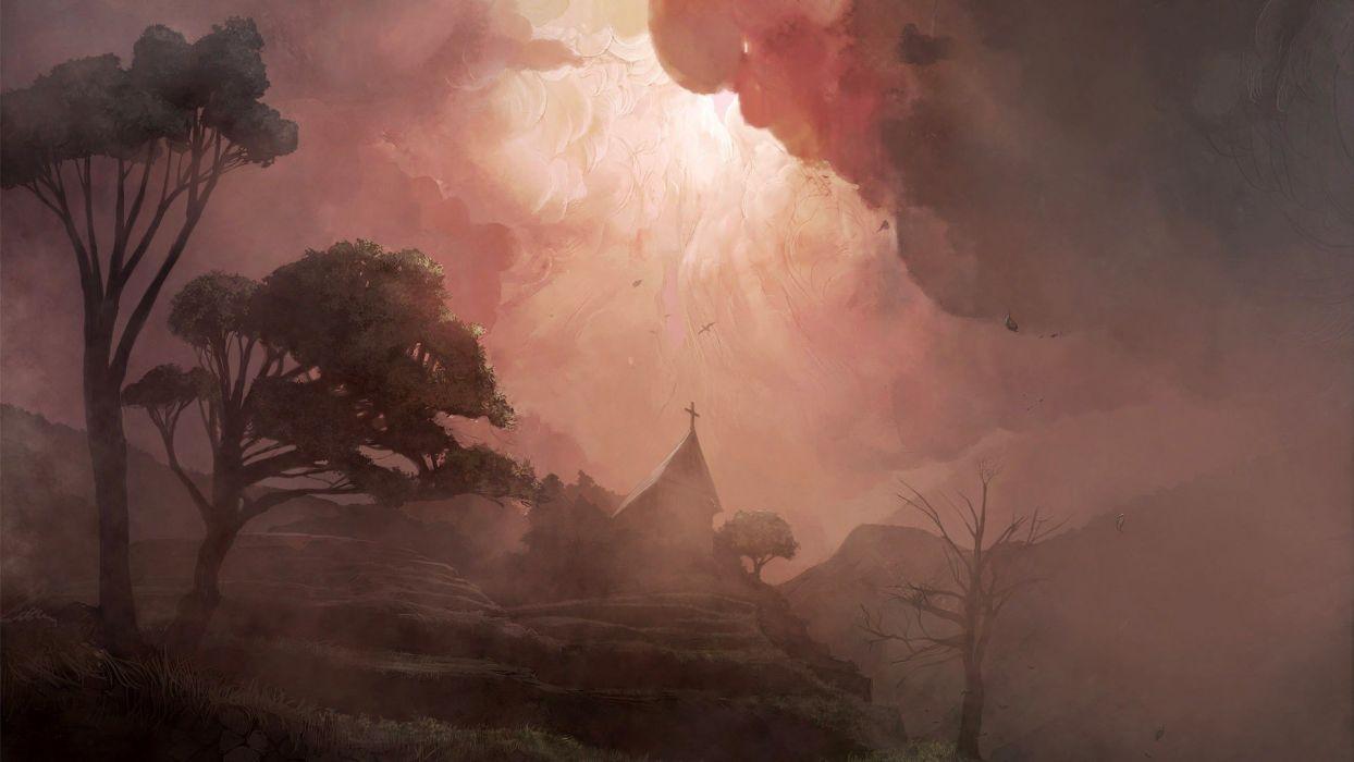 abstracto dark bosque naturaleza niebla wallpaper