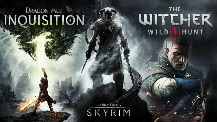 DRAGON AGE fantasy rpg origins inquisition warrior fighting action adventure poster elder scrolls skyrim witcher wallpaper