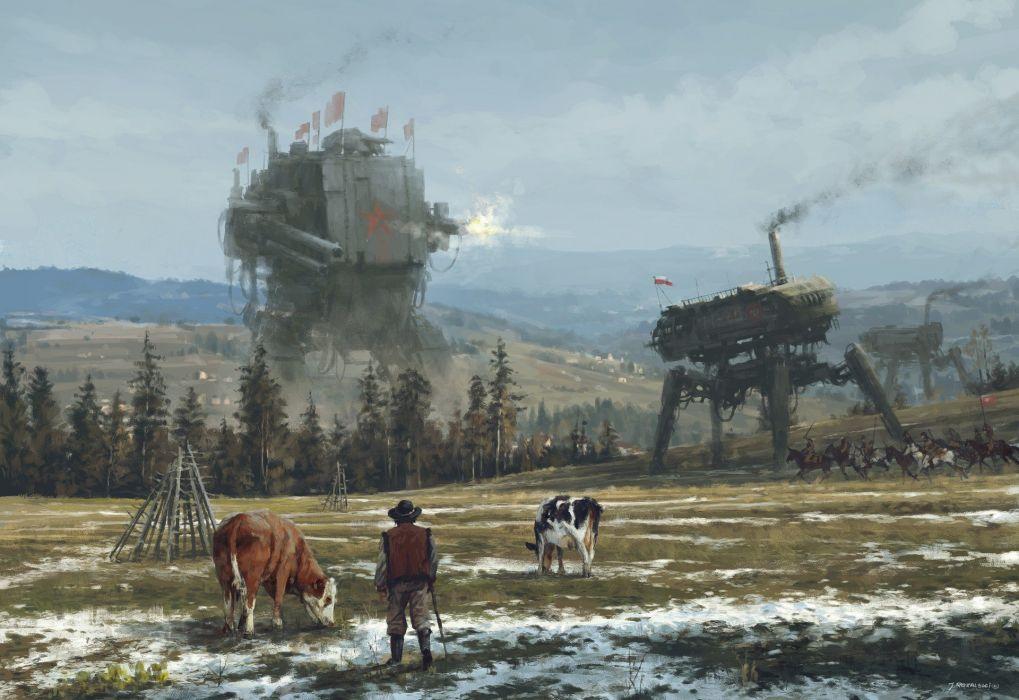 fantasia maquinas robot campo vacas wallpaper