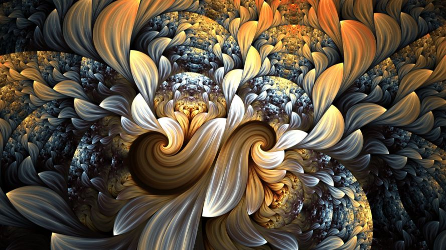 abstracto fractal petalos colores wallpaper