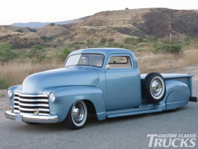 1951 Chevrolet 3100 Pickup Hotrod Hot Rod Chopped Custom Kustom Old School USA 1600x1200-04 wallpaper