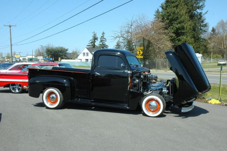 1951 Ford F1 Pickup Chopped Top Hotrod Hot Rod Custoim Kustom Old School USA 1500x1000-10 wallpaper