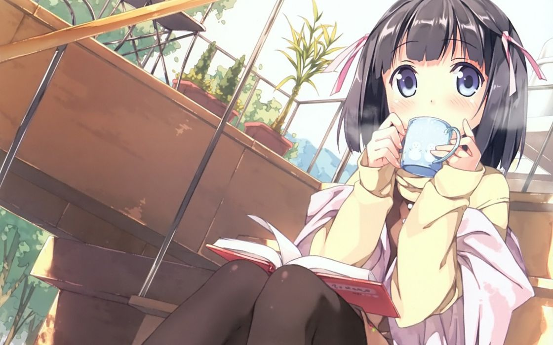 originals Anime Girl drinking tea cute wallpaper