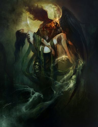 fantasy girl beautiful devil dark couple long hair character wallpaper