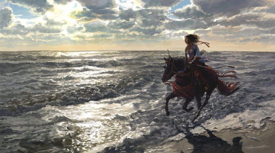 original painting art beach horse girl beauty sky wallpaper