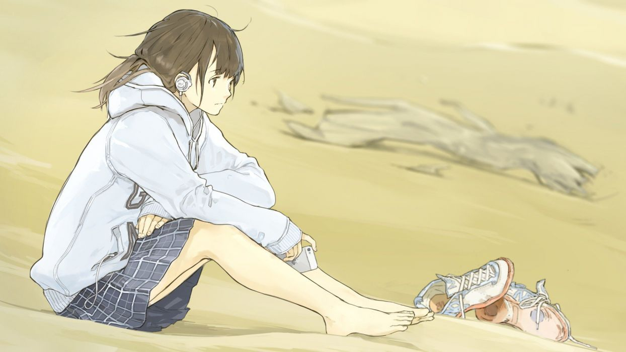 Originals anime girl with headphones sitting on the beach wallpaper