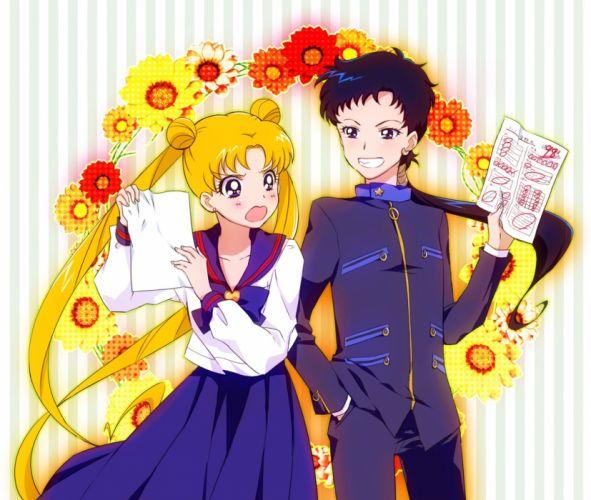 Tsukino Anime Friends Sailor Moon Usagi Seiya Girl Black Hair Friends Guy Smile Flowers Blonde wallpaper