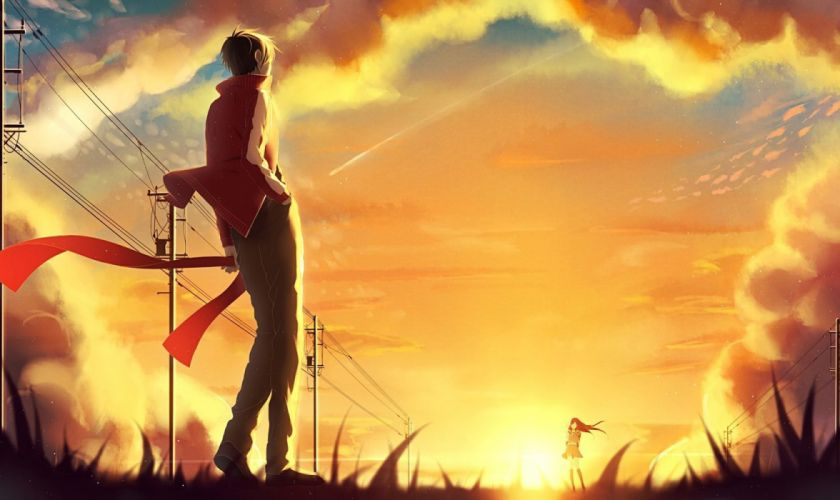 originals Meeting at sunset in the anime Kagerou Project sunset girl boy wallpaper
