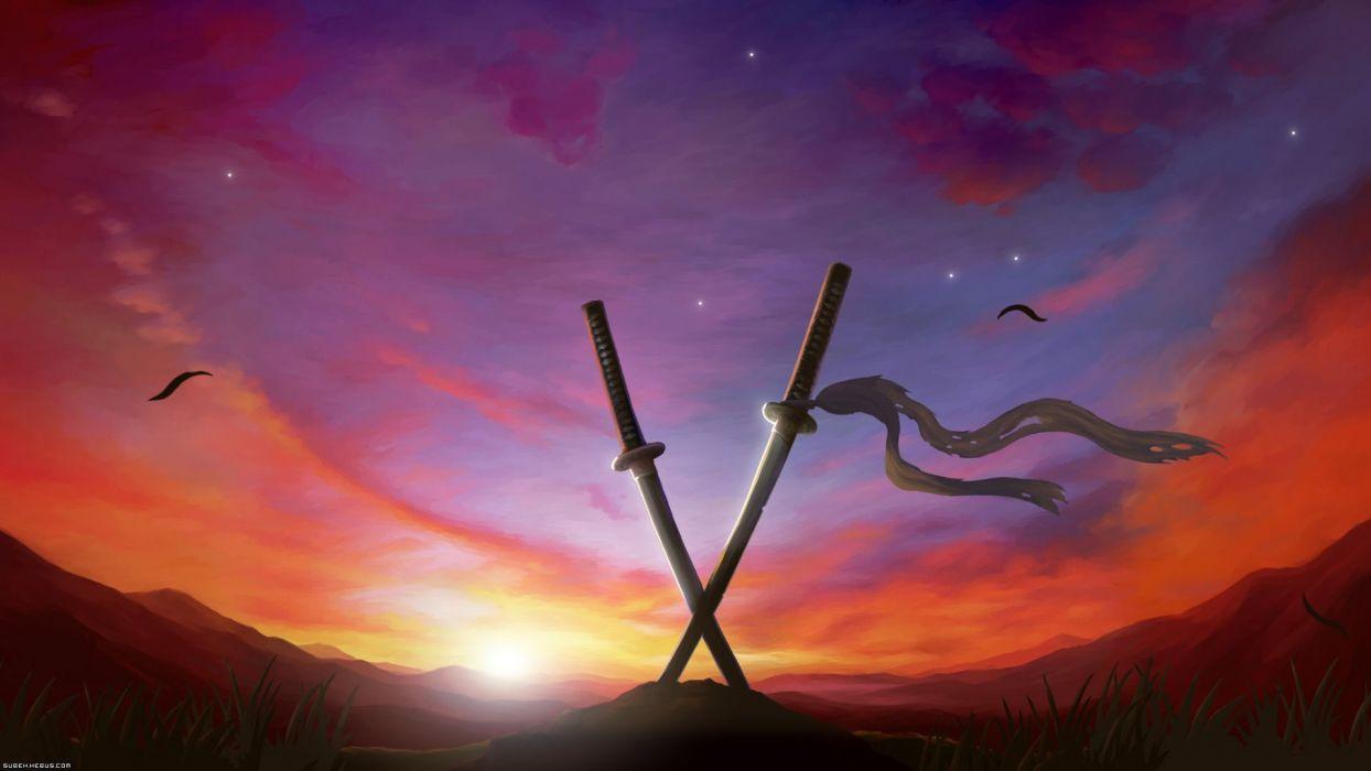originals Anime Crossed swords stuck into the ground wallpaper