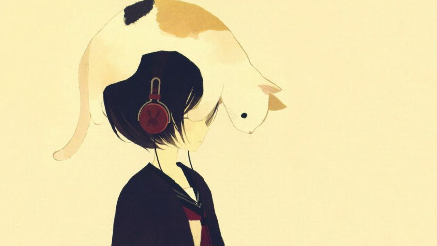 originals Anime Cat on the head of the girl cute wallpaper