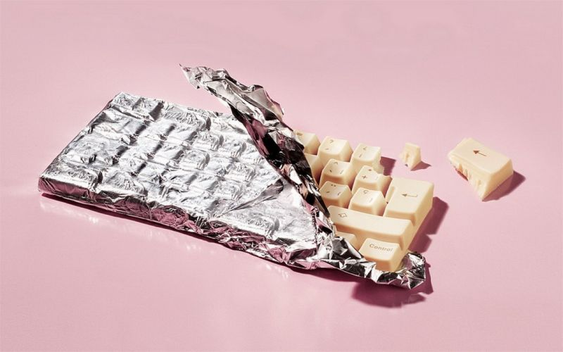 food chocolate wrapper foil keyboard wallpaper