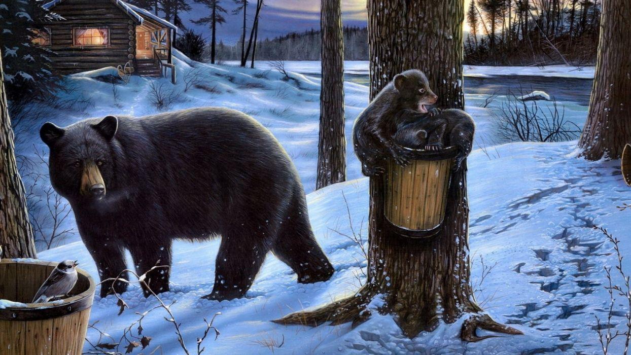 bear forest bears house family walking eating wallpaper