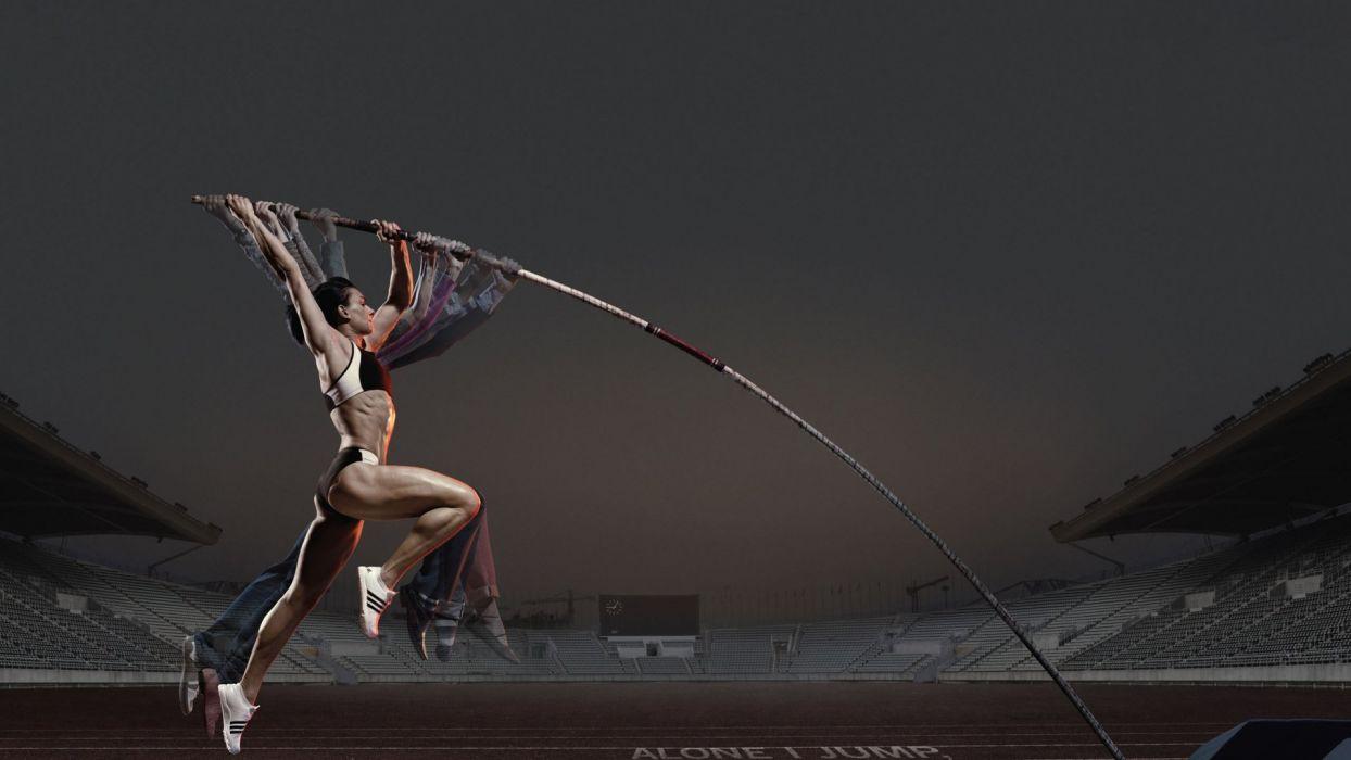 girl athlete pole pole vault advertising wallpaper