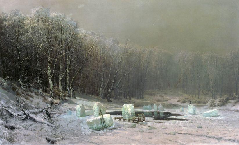 winter ice ice-hole sledge blocks lake snow painting art wallpaper