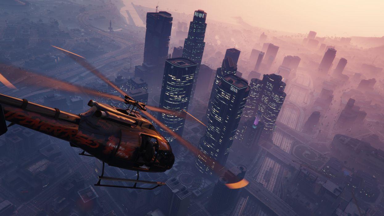 grand theft auto v gta 5 helicopter sky building wallpaper