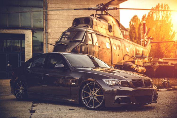 bmw e90 deep concave black helicopter wallpaper