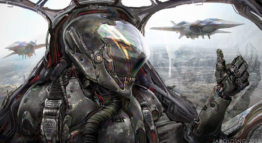 soldado alienigena abstracto sci-fi wallpaper