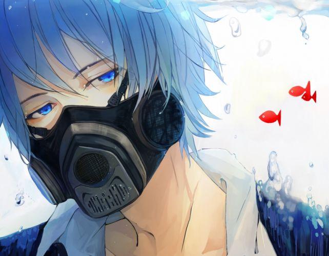 anime boy vocaloid kaito male mask fish wallpaper