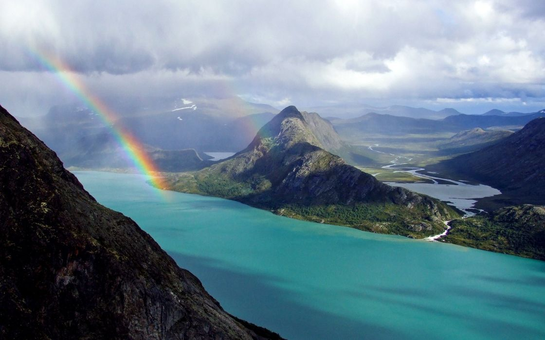 beautiful nature rainbow ocean mountains land relief landscape sky clouds river coast wallpaper